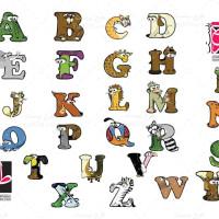 وکتور جدید حروف با طرح حیوانات