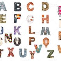 وکتور حروف انگلیسی با طرح حیوانات