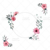 دانلود طرح وکتور قاب گرد گلدار