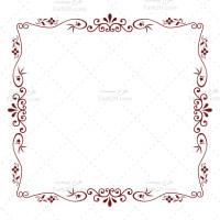 طرح وکتور حاشیه مربع گل و بوته تک رنگ