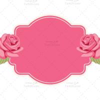 طرح وکتور قاب متن صورتی با گلهای رز