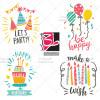 دانلود طرح لایه باز وکتور وسایل تزئین جشن تولد