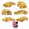 طرح مجموعه وکتور لایه باز تاکسی
