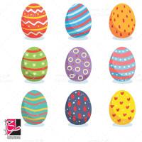 طرح لایه باز وکتور تخم مرغ رنگی عید