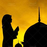 تصویر با کیفیت خانم مسلمان در حال دعا