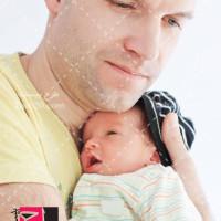 عکس با کیفیت نوزاد در آغوش پدر