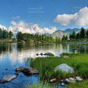 تصویر با کیفیت از طبیعت سرسبز و دریاچه
