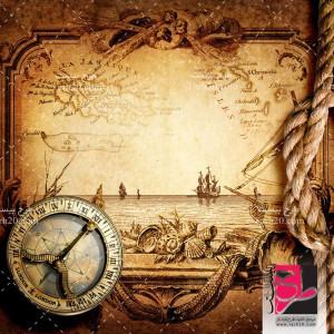 تصویر استوک نقشه و قطب نمای قدیمی