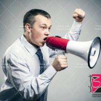 دانلود تصویر استوک صحبت در بلندگو تبلیغ مشاغل