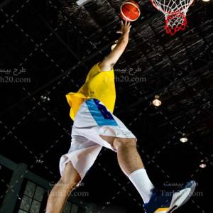 عکس با کیفیت پرتاپ توپ بسکتبال