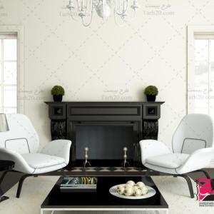 عکس با کیفیت دکوراسیون داخلی منزل با شومینه