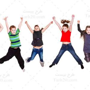 تصویر با کیفیت کودکان در حال شادی و پرش