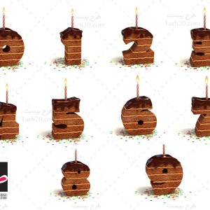 تصویر با کیفیت اعداد و شمع کیک تولد