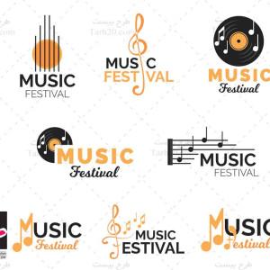 طرح وکتور لوگوهای موسیقی و آهنگ سازی