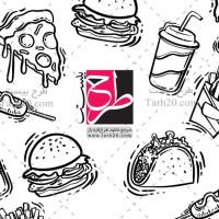 طرح لایه باز وکتور سیاه سفید پیتزا و ساندویچی