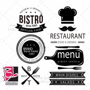 لایه باز مجموعه طرح وکتور سیاه سفید رستوران