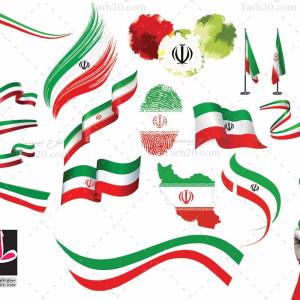 مجموعه گلچین شده ۵۰ پرچم ایران (PNG)
