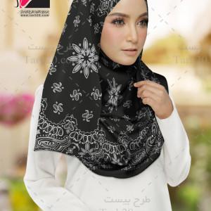 طرح روسری لایه باز گلدار مشکی