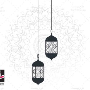 وکتور لایه باز تذهیب اسلامی رمضان