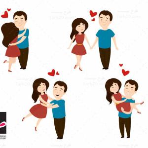 طرح وکتور عاشقانه مرد و زن (ولنتاین)