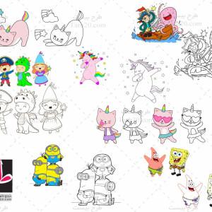 طرح مجموعه ۸ تایی رنگ آمیزی کودکان