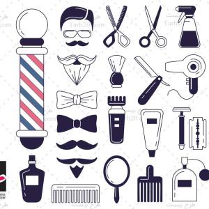 مجموعه وکتور و لوگو لوازم آرایشگاه مردانه