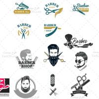مجموعه وکتور یا لوگوهای آرایشگاه مردانه