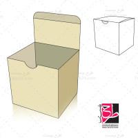طرح دایکات و بسته بندی جعبه مربعی