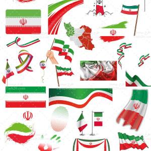 مجموعه گلچین شده ۲۸ پرچم جدید ایران (PNG)