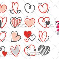 دانلود مجموعه وکتورهای قلب ساده و خطی