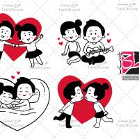 مجموعه ۴ عددی وکتور لایه باز عاشقانه