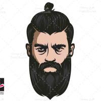 طرح لایه باز وکتور مرد ریش دار