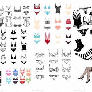 مجموعه وکتور انواع لباس زیر زنانه جدید