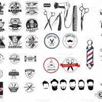 مجموعه وکتور یا المان های آرایشگاه مردانه