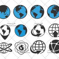 مجموعه لوگو و وکتورهای کره زمین