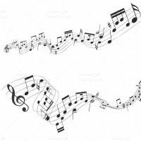 طرح وکتور سیاه و سفید نت موسیقی