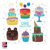 طرح لایه باز وکتور انواع کیک جشن تولد