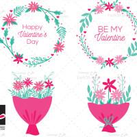 طرح وکتور گل های عاشقانه ولنتاین