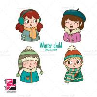 طرح لایه باز وکتور کودکان با لباس زمستانی