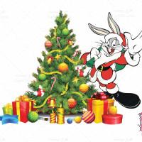 وکتور خرگوش بابانوئل و درخت کریسمس