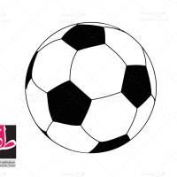 طرح لایه باز وکتور سیاه و سفید توپ فوتبال