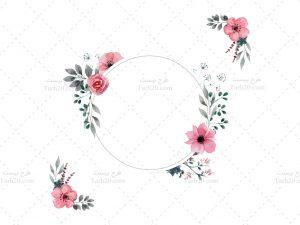 وکتور قاب گرد گلدار