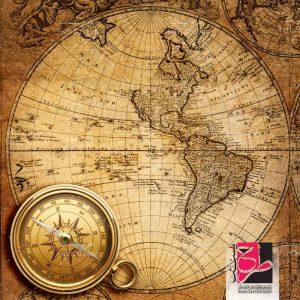 نقشه قدیمی و قطب نما