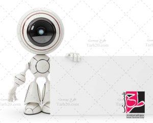 تصویر ربات با پلاکارد
