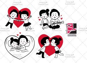 طرح وکتور عاشقانه