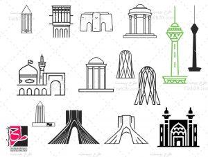 وکتور آثار باستانی ایران